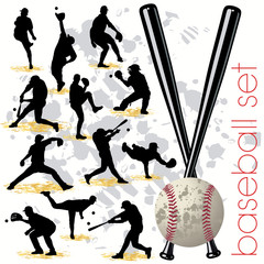 Baseball silhouettes set.03