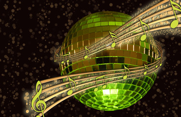 Disco Ball with Music Notes!