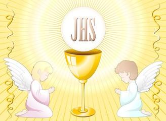 Prima Comunione Angeli Sfondo-First Communion Angels Background