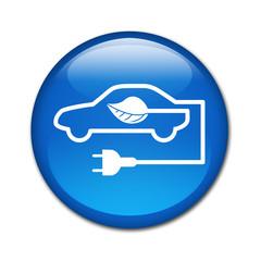 Boton brillante simbolo coche ecologico