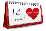 Kalender rot 14 Februar Valentinstag Herz