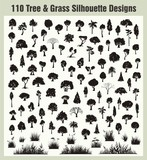 Fototapety Vector Tree & Grass Silhouettes Set