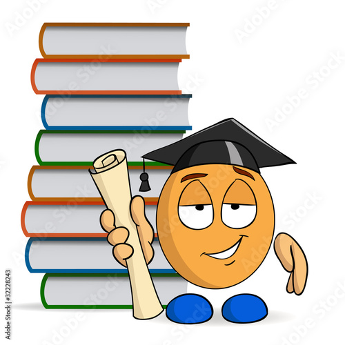 Cartoon character graduation with books