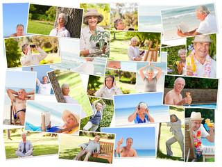 Elderly people relaxing alone