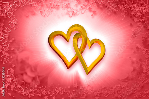 Valentine's Day - Two Gold Hearts