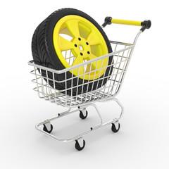 3d shopping cart with big car wheel
