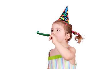child with birthday hat on white