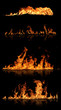 Fire flames with reflection, isolated on black background
