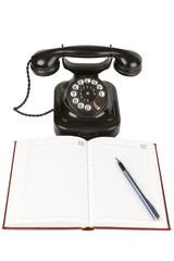 Vintage black phone ,organizer and pen
