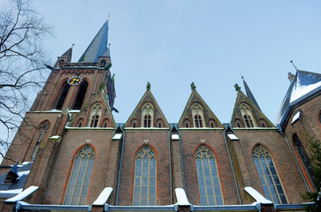 Krefeld, Germany - Church facede, spire and nave