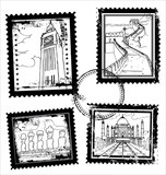 World landmarks stamps poster