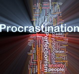 Background concept wordcloud illustration of procrastination glo