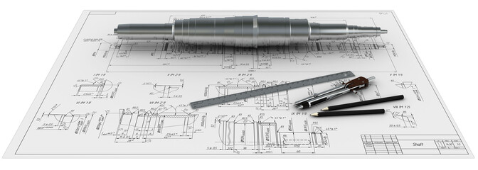 metal shaft, compasses, rulers, pencils and engineering drawing