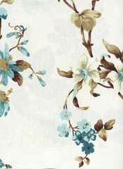 Cotton fabric with floral pattern