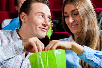 Couple in cinema with popcorn