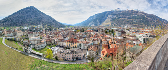 Panorama of historic city center  in Chur, Switzerland