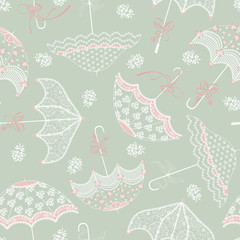 Background with vintage wedding parasols