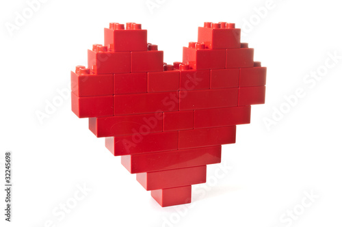 Heart shaped red building blocks