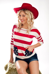 Sexy american-dressed girl winks