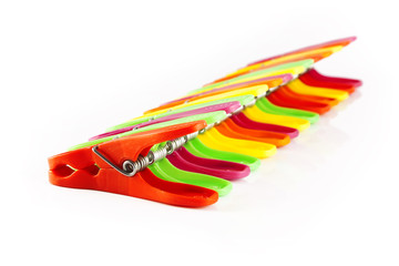 colorful clothespins in a row