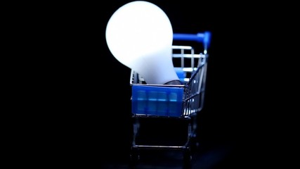 white electric lamp in toy shopping trolley rotating