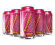 Set of raspberry soda drinks in metal cans