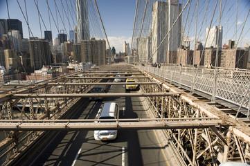 Traffic on the Brooklyn bridge, NY