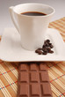 Tabla de chocolate con café.