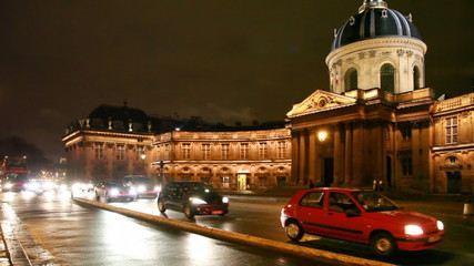 Institut de France and road in front of him at Paris by night