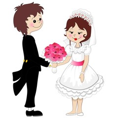 Sposi Coppia Matrimonio-Weddings Married Couple Cartoon-Vector