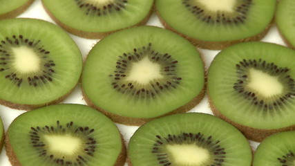 Slices of kiwi fruit closeup