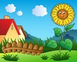 Detaily fotografie Louka s karikatura slunečnice