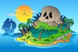 Pirate skull island with ship