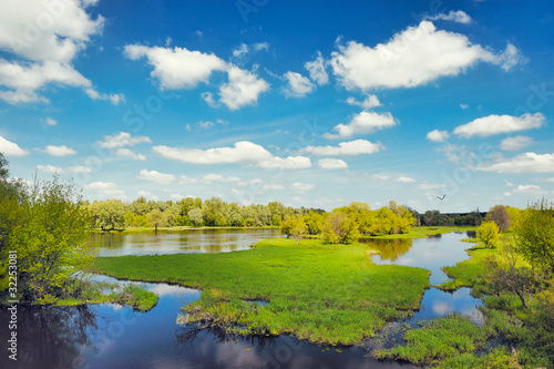 River flood waters background, Narew, Poland - 32253081