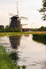 Dutch windmills with reflection