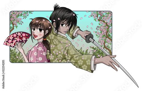 japonska-dama-i-dumni-samurajowie-tlo-sakura