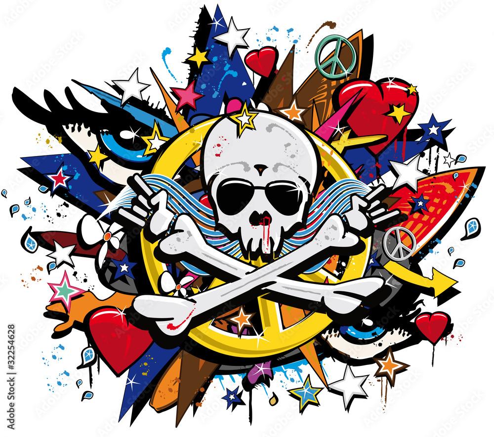 Sticker wall graffiti - Graffiti Skull And Bones Skeletonl Pop Art Illustration Wall Sticker