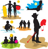 set vector silhouettes childhood poster