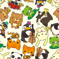 cartoon animal play music seamless pattern