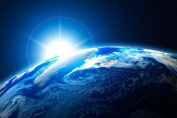 nördlicher Bereich der Erde, Arktis, mit Sonne im Hintergrund