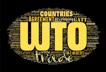WTO - World Trade Organization isolated on black