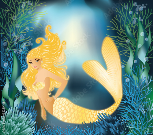 Poster Zeemeermin Pretty Gold Mermaid with underwater background, vector