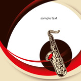Modernistic designed layout with saxophone. poster