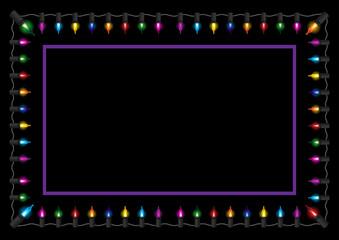 Christmas glow light border vector illustration