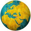 syria flag on globe map