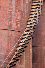 Rusty stair on an old industrial complex