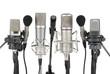 Leinwandbild Motiv Reihe aus sieben Mikrofonen