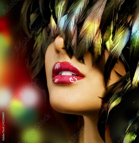 Fashion woman Portrait. Red Lips