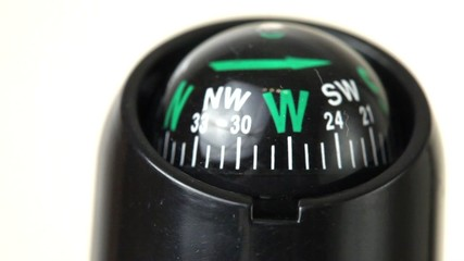 closeup of black compass with green arrows turn around