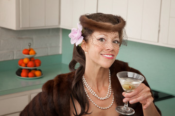 Woman Enjoying Martini